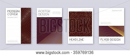 Minimal Brochure Design Template Set. Gold Abstract Lines On Bordo Background. Appealing Brochure De