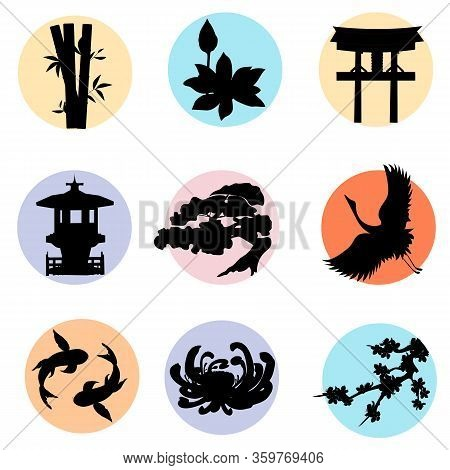 Japanese Set Of Japanese Silhouette Icons. Vector Round Illustrations Isolated On White Background.
