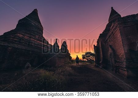 Bagan After Sunset Tourist Explores Old Temples And Stupas Myanmar Burma
