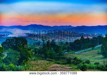Beautiful Hsipaw Landscape After Sunset Shan State Myanmar