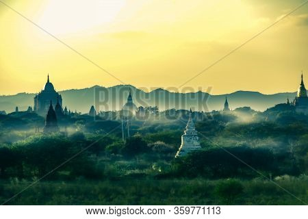 Bagan Myanmar Temples Shrouded In Mornin Mist