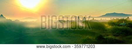 Bagan Myanmar Buddhist Temples And Stupas At Sunrise Panorama