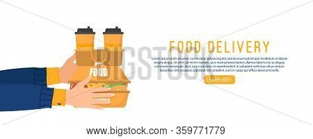 Online Food Delivery. Food Delivery From Courier To Customer Because Coronavirus. Hands Hold Paper S