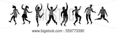 Group Of Dancing People Silhouettes. Black Figures On White Background. Flat Vector Illustration.