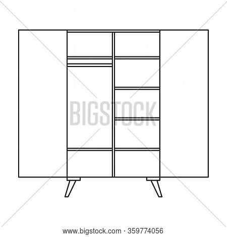Cupboard Vector Icon.outline Vector Icon Isolated On White Background Cupboard .