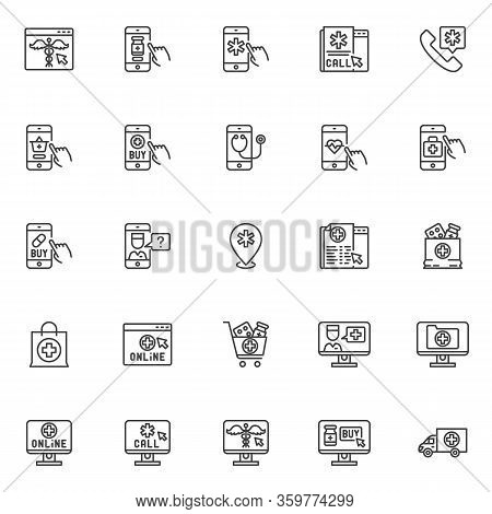 Online Medicine Line Icons Set. Telemedicine Linear Style Symbols Collection, Outline Signs Pack. Ve