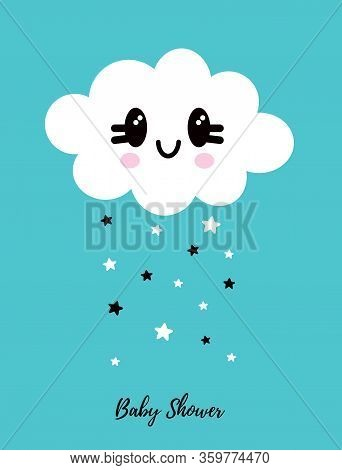 Cute Simple Baby Shower Vector Card. White Fluffy Smiling Cloud Isolated On A Light Blue Background.