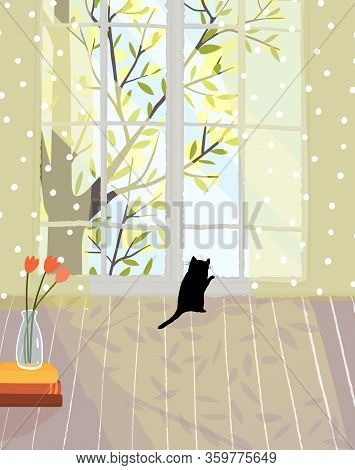 Cozy Romantic Living Room With Bright Light And Kitten Looking In Window. Empty Indoor Interior Desi