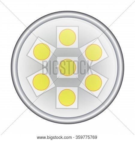 Led Light Bulb Vector Icon. Realistic Vector Icon Isolated On White Background Led Light Bulb.