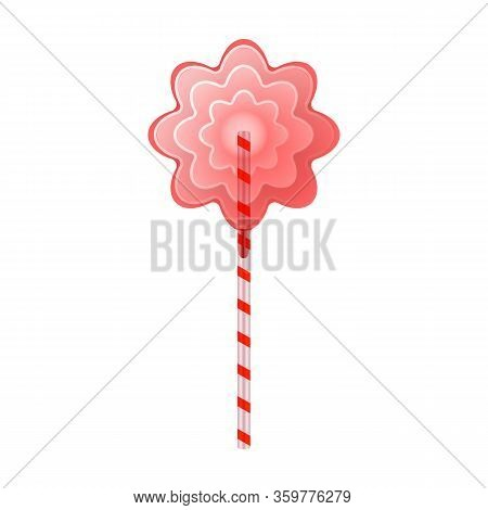 Lollipop Vector Icon. Realistic Vector Icon Isolated On White Background Lollipop.