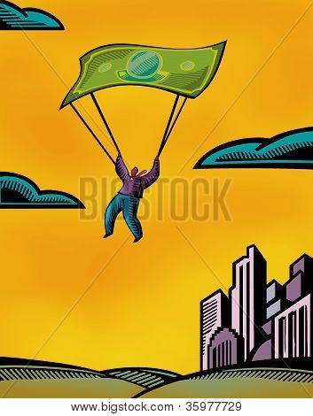 A man using a bank note as a parachute poster