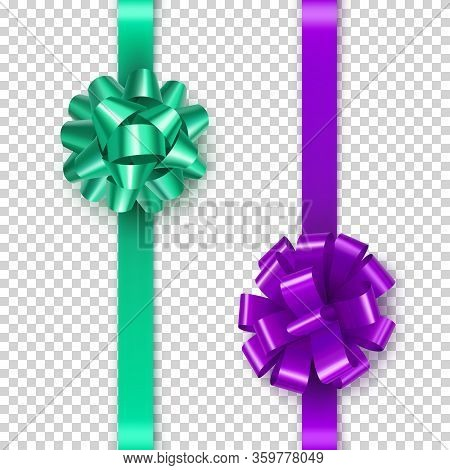 Elegant Green And Purple Bow From Satin Tape Isolated On Transparent Background. Realistic Decoratio