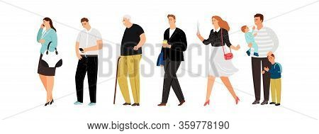 Different People Line. Young Father, Cute Girl And Old Man. Isolated Persons Queue Vector Illustrati