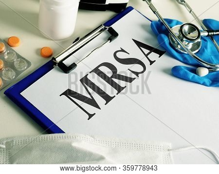 Diagnosis Mrsa Methicillin-resistant Staphylococcus Aureus And Stethoscope.