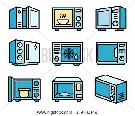 Microwave Icons Set. Outline Set Of Microwave Vector Icons For Web Design Isolated On White Backgrou