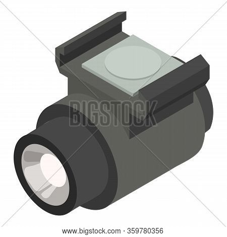 Bicycle Flashlight Icon. Isometric Of Bicycle Flashlight Vector Icon For Web Design Isolated On Whit
