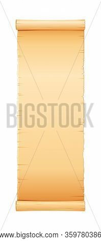 Papyrus Scroll, Parchment Paper With Old Texture, Vector Banner Isolated On White Background. Vintag