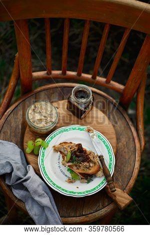 Crostini Jelly Rabbit Appetizer.  Oudoor Photo.selective Focus