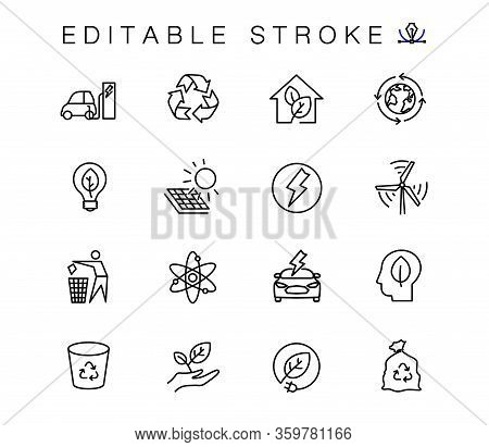 Alternative Energy Sources Vector Linear Icons Set. Ecology Renewable Energy Outline Symbols Pack. C