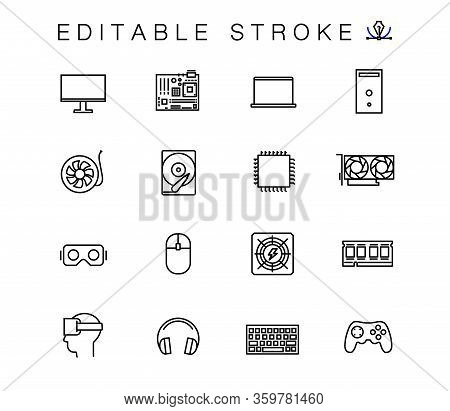 Computer Parts Vector Linear Icons Set. Outline Symbols Pack. Collection For Online Store And Repair