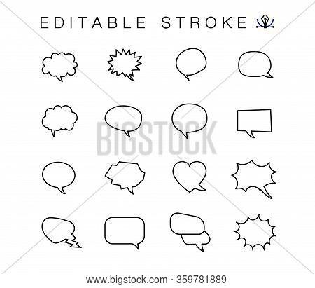 Set Of Outline Dialogue Speech Bubbles. Communication Bubbles. Signs Dialogue. Simple Comic Line Tho