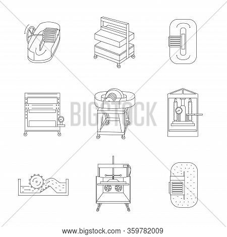 Thin Line Icon Set Of Equipment For Hand Papermaking.