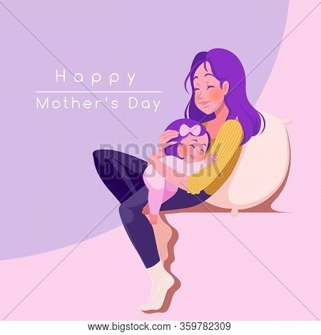 Happy Mother's Day Greeting Card. Young Mother With Her Child.