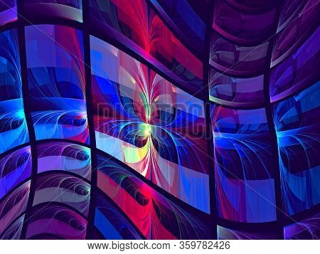 Abstract Bright Blue And Purple Composition Like Flag. Computer-generated Image - Fractal. Stained G