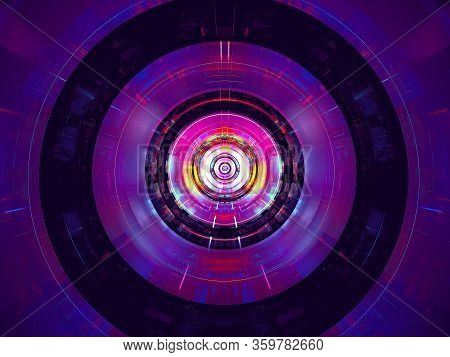Abstract Neon Glowing Background - Computer-generated Image. Blue And Purple Disk Or Tunnel. Virtual