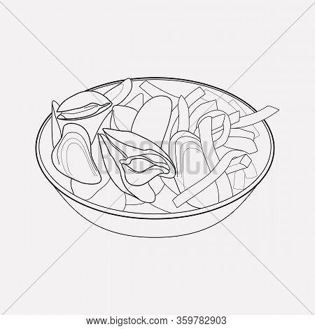 Belgian Mussels Icon Line Element. Vector Illustration Of Belgian Mussels Icon Line Isolated On Clea