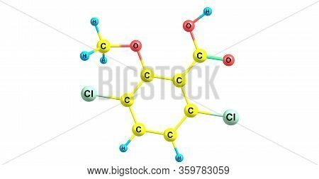 Dicamba Molecular Structure Isolated On White