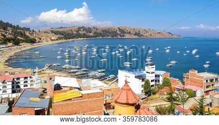 Titicaca Lake Bolivia 16, August Aeriall View Of Copacabana Bay And Lake With Moored Boats  That Bri