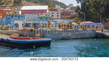 Bolivia Tiquina September 23 This Wooden Ferry Waiting Vehicles To Allow The Crossing Of The Strait