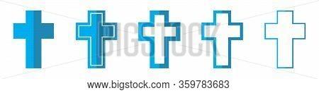 Christian Cross Vector Icons. Set Of Christian Symbols On White Background. Vector Illustration. Var
