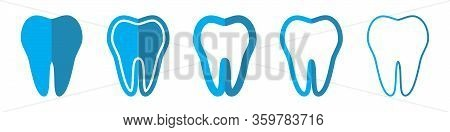 Tooth Vector Icons. Set Of Teeth Symbols On White Background. Vector Illustration. Various Tooth Ico