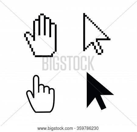Pointer Cursor Icons. Web Arrows Cursors, Mouse Clicking And Grab Hand Pixel Icon. Computer Pointers