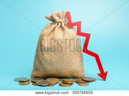 Money Bag And Red Arrow Down. Economic Difficulties. Stagnation, Declining Business Activity, Fallin