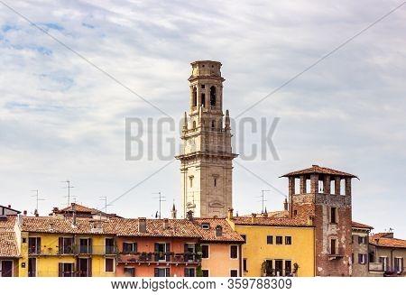 Verona, Italy, September 26, 2015 : Duomo Di Verona - Verona Cathedral - Striped Romanesque Cathedra