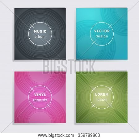 Abstract Plate Music Album Covers Collection. Semicircle Curve Lines Patterns. Trendy Plate Music Re