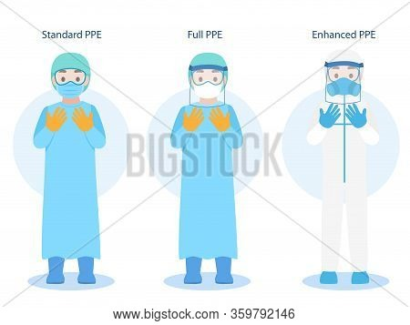 Set Of Doctors Character Wearing In Ppe Personal Protective Suit Clothing Isolated And Safety Equipm