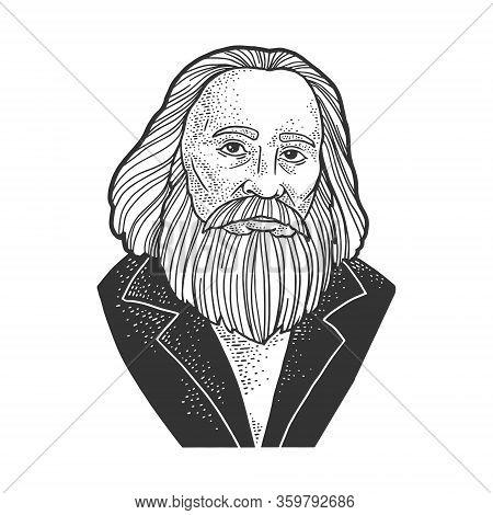 Dmitri Mendeleev Portrait Sketch Engraving Vector Illustration. T-shirt Apparel Print Design. Scratc