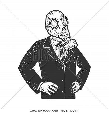 Gas Mask Politician Sketch Engraving Vector Illustration. T-shirt Apparel Print Design. Scratch Boar