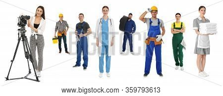 Collage With People Of Different Professions On White Background. Banner Design
