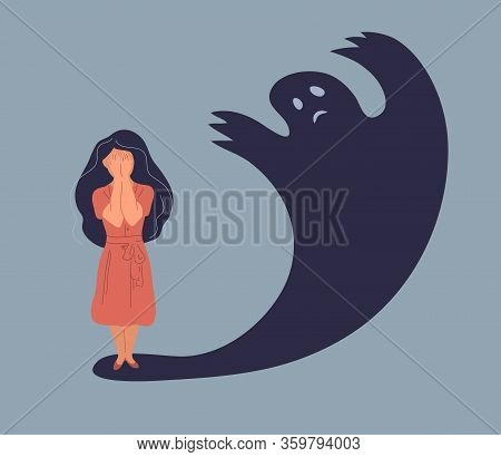 Anxiety Or Panic Attack. Sad Young Woman With Lowered Head Frightened With His Own Shadow And Having