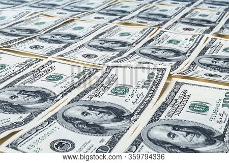 One Hundred Dollars. Us Dollars Background. Closeup Of A Lot Of Banknotes Hundred Dollar Bills. Amer