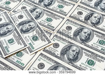 Bunch Of One Hundred Dollars. Us Dollars Background. Many Banknote Hundred-dollar Bills. American Cu