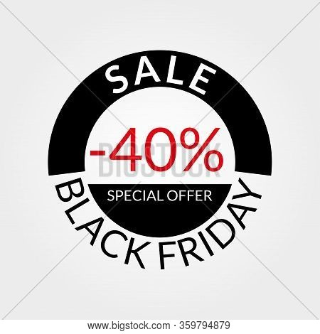 40% Sale Tag Or Discount Icon. Save 40 Percent Of Price. Black Friday Design Template.  Vector Illus