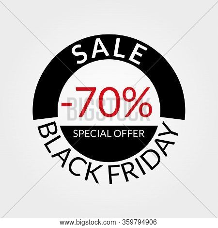 70% Sale Tag Or Discount Icon. Save 70 Percent Of Price. Black Friday Design Template.  Vector Illus