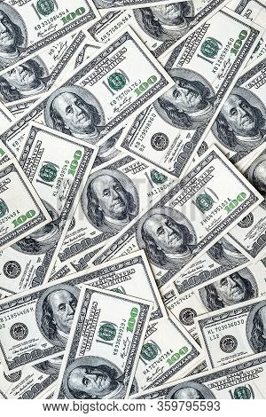One Hundred Dollars. Money Supply. Us Dollars Banknotes Background. Hundred Dollar Bills. American C
