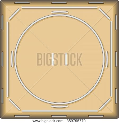 A Vector Illustration Of An Empty Traditional Sumo Wrestling Ring Made With Sand On An Isolated Whit